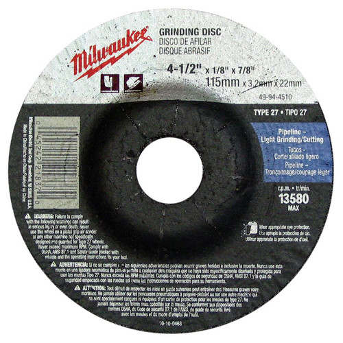 Milwaukee 49-94-4510 4-1/2 in. Type 27 Grinding Wheel image number 0