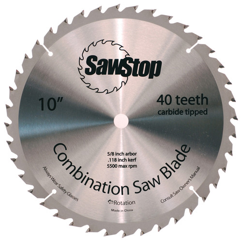 SawStop CNS-07-148 10 in. 40-Tooth Combination Table Saw Blade image number 0