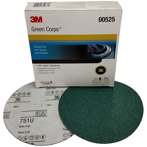 3M 525 Green Corps Hookit Regalite Disc 8 in. 36E (25-Pack)