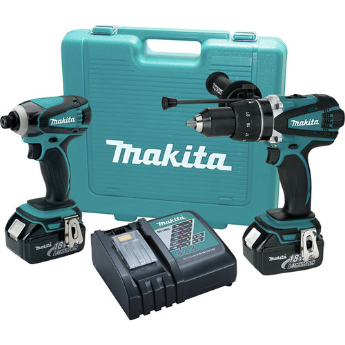 Factory Reconditioned Makita XT218-R 18V LXT Brushed Lithium-Ion 1/2 in. Cordless Hammer Drill/ Impact Driver Combo Kit (3 Ah) image number 0