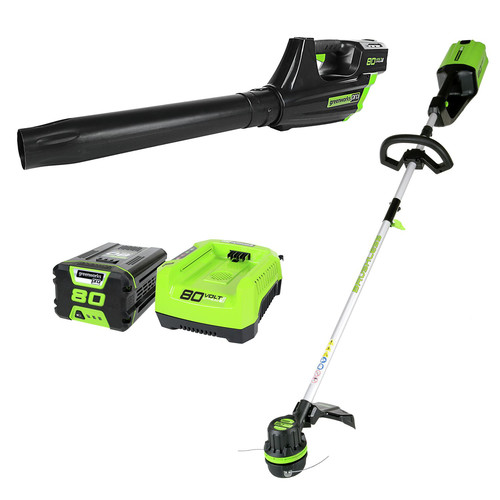 Greenworks 1301402 Pro STBA80L210 80V Cordless String Trimmer and Blower Combo (2 Ah Battery and Charger Included)