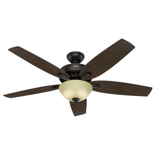 Hunter 54161 56 in. Newsome Premier Bronze Ceiling Fan with Light