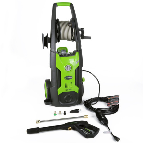Greenworks GPW1951 13 Amp 1,950 PSI 1.2 GPM Electric Vertical Pressure Washer with Hose Reel