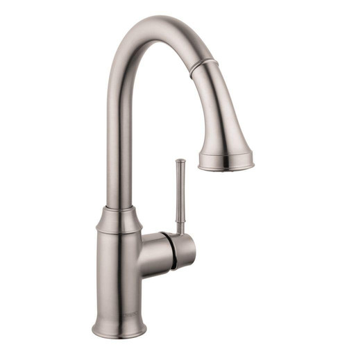 Hansgrohe 4215800 Talis C Higharc Single Hole Kitchen Faucet with Pull Down Spray (Steel Optik)