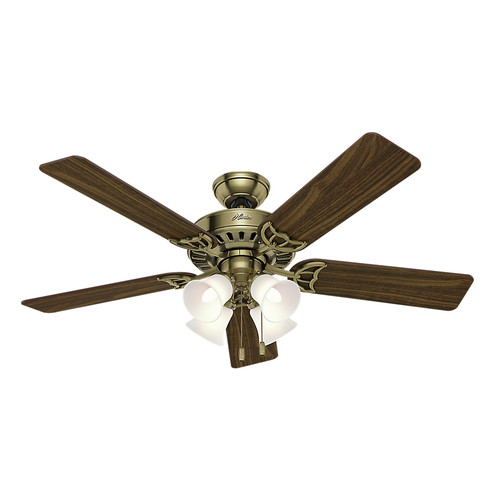 Hunter 53063 Studio 52 in. Traditional Antique Brass Walnut Indoor Ceiling Fan with 4 Lights
