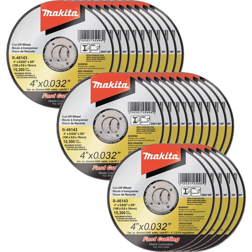 Makita B-46143-25 4 in. x .032 in. x 5/8 in. Ultra Thin Cut-Off Grinding Wheel (25-Pack)