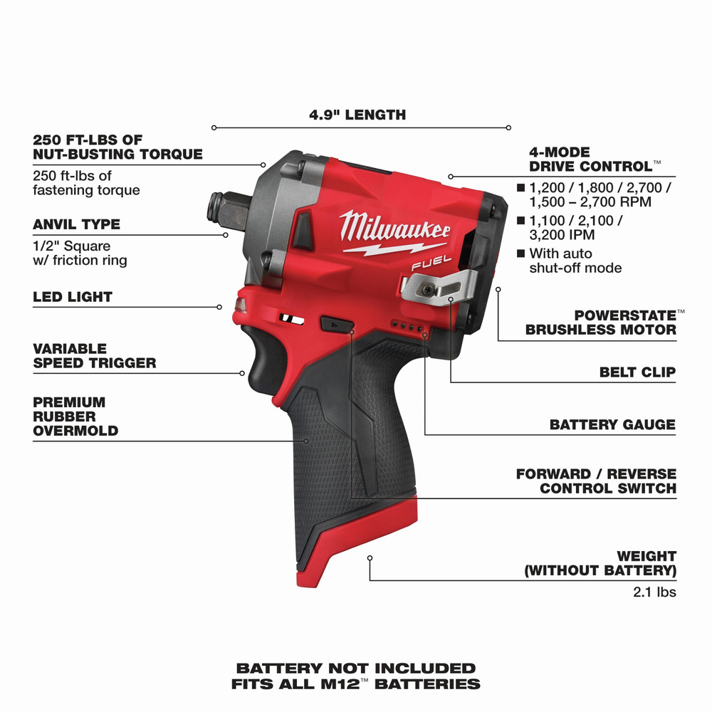 Milwaukee 2555-20 M12 FUEL Li-Ion 1/2 in. Stubby Impact Wrench (BT) New 6