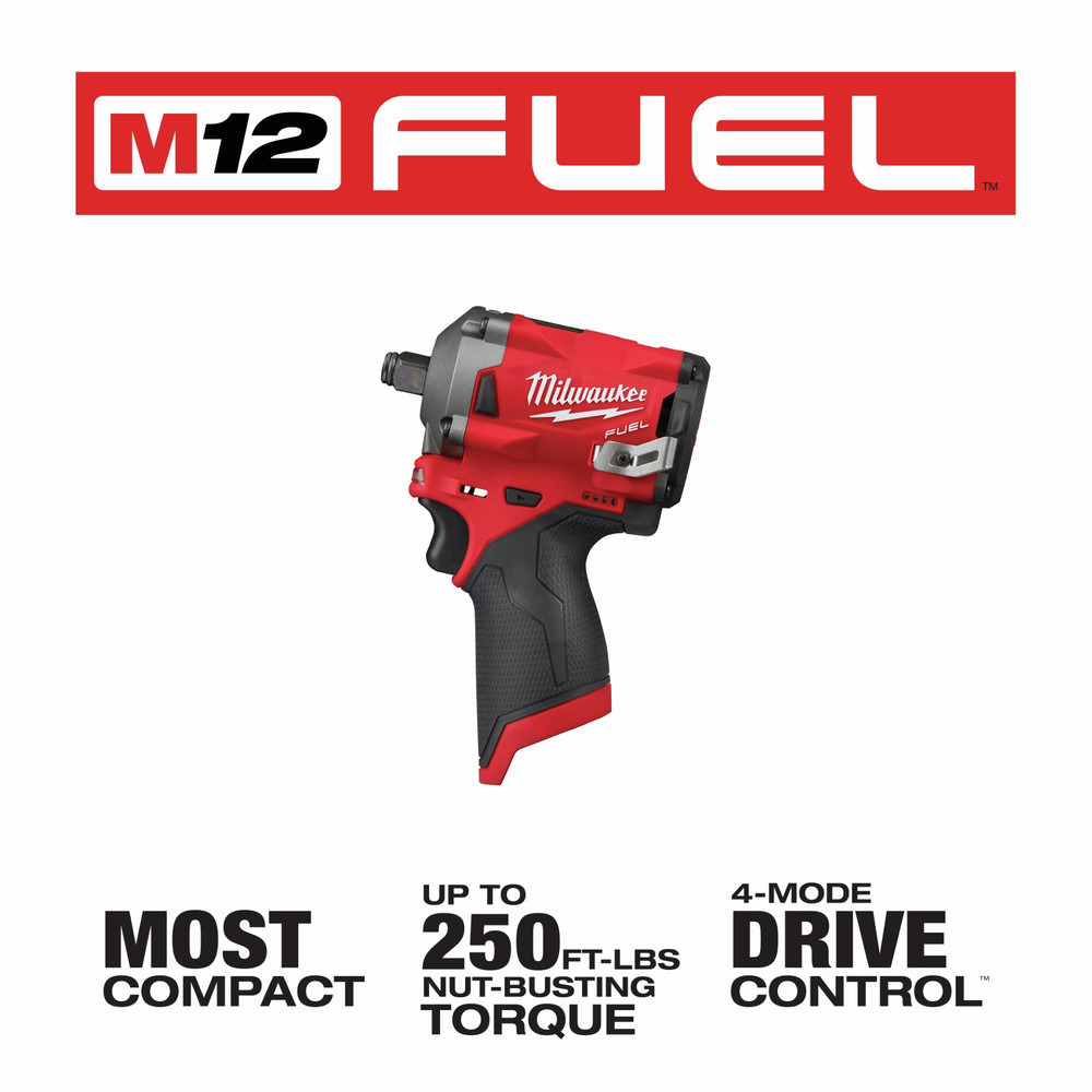 Milwaukee 2555-20 M12 FUEL Li-Ion 1/2 in. Stubby Impact Wrench (BT) New 7