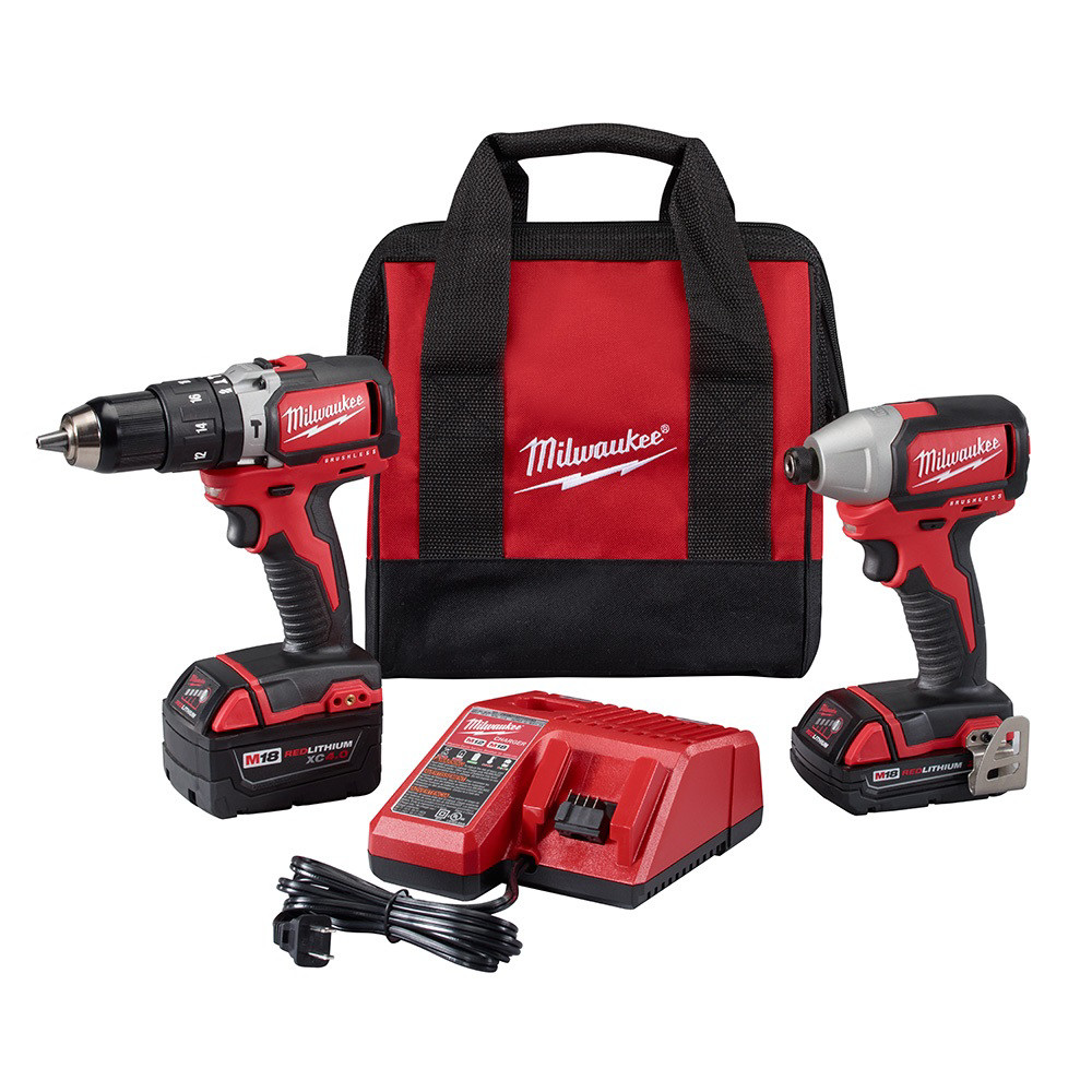 Milwaukee-2799-82CX-M18-1-2-in-Hammer-Drill-and-1-4-in-Impact-Driver-Refurb