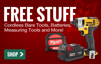 Free Stuff: Cordless Bare tools, batteries, measuring tools and more