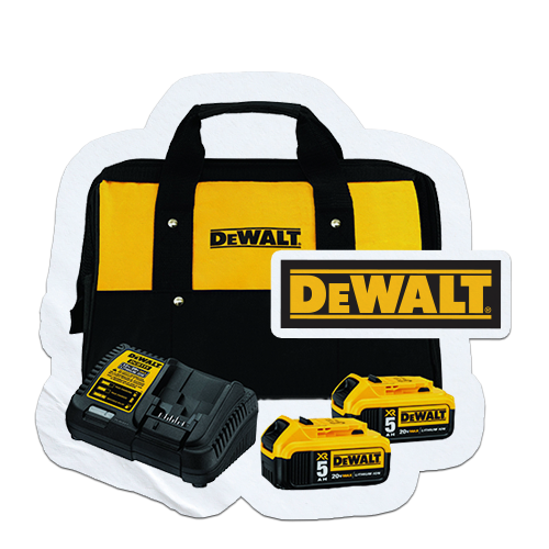 Free DEWALT 20V MAX 5 Ah Battery (2-pack) & Charger Kit when you order 2 DEWALT bare tools