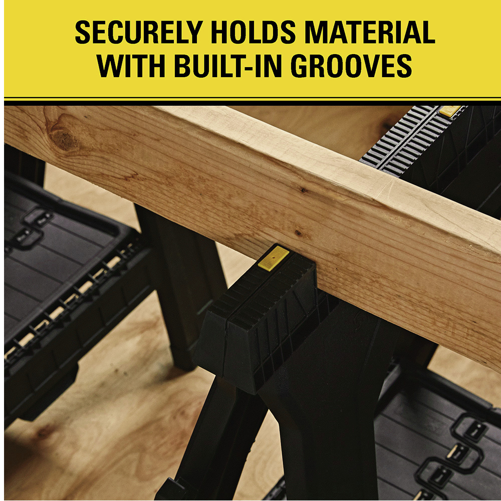 Securely holds material w/ built-in grooves
