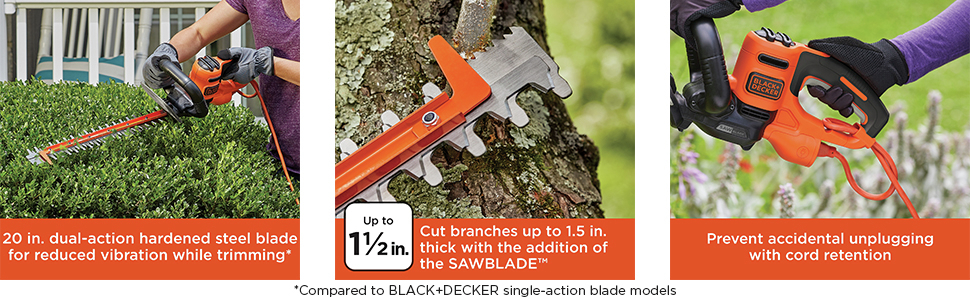 20 in dual-action hardened steel blade for reduced vibration while trimming