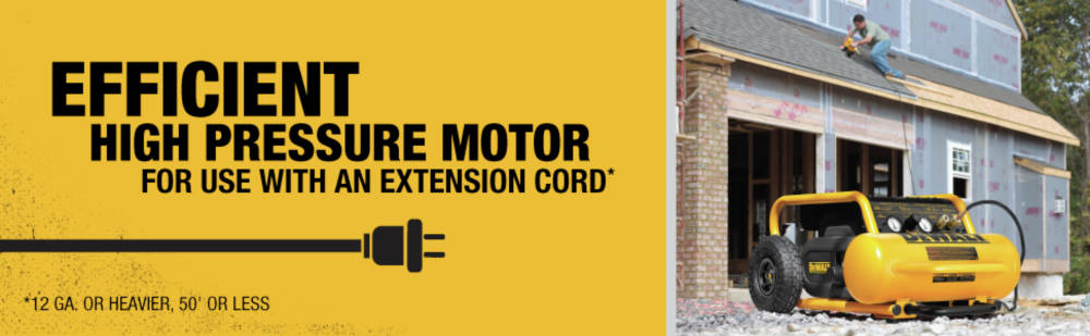 Efficient high pressure motor for use with an extension cord