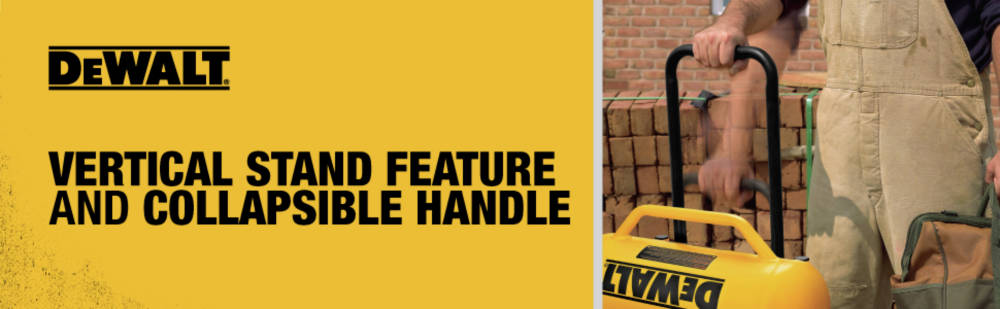 Vertical stand feature and collapsible handle