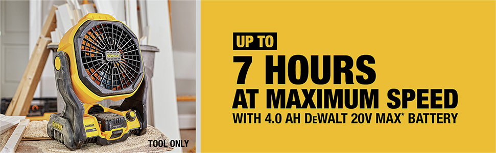 up to 7 hours at maximum speed with 4.0 Ah dewalt 20v max battery