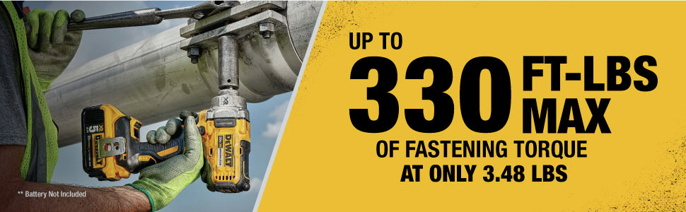 up to 330 ft-lbs max of fastening torque at only 3.48 lbs