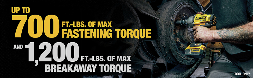 Up to 700 Ft.-Lbs. of Max Fastening Torque