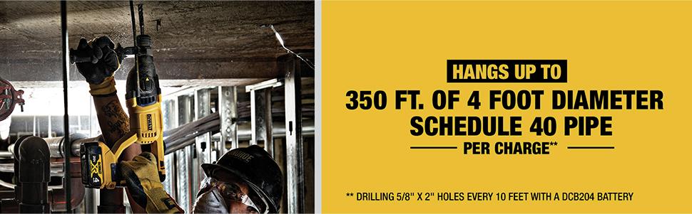 Hangs Up To 350 ft. of 4 Foot Diameter Schedule 40 Pipe