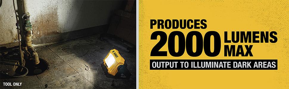 Produces 2000 Lumens Max