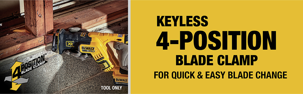 Keyless 4-position blade clamp for quick & easy blade change