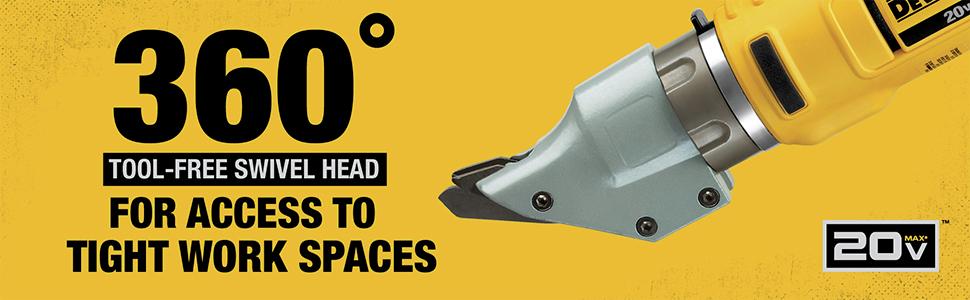 360 Degrees Tool-Free Swivel Head