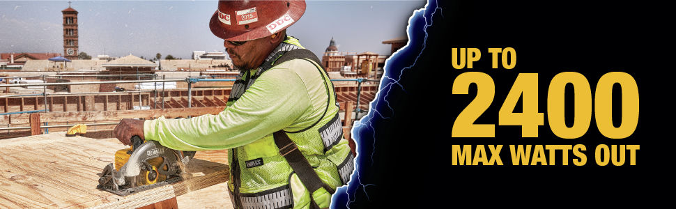 Construction worker utilizing the dcs577 with up to 2400 max watts out