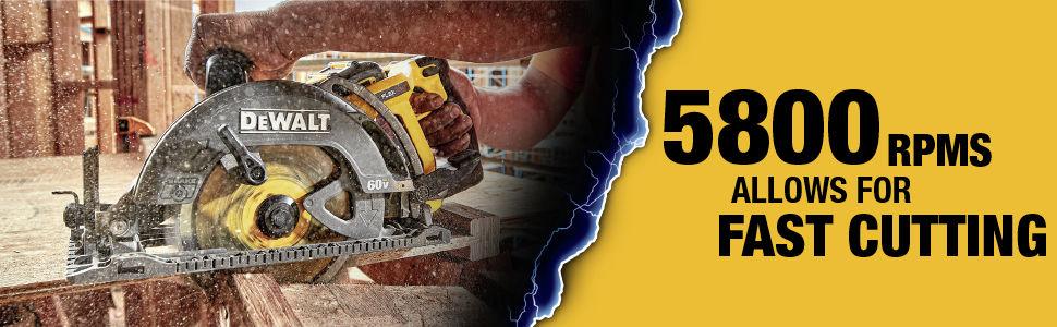 High speed 5800 RPM circular saw allows for fast cutting