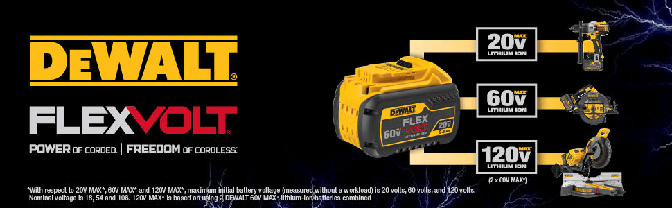 One battery to power your 20v, 60v, and 120v max Dewalt tools