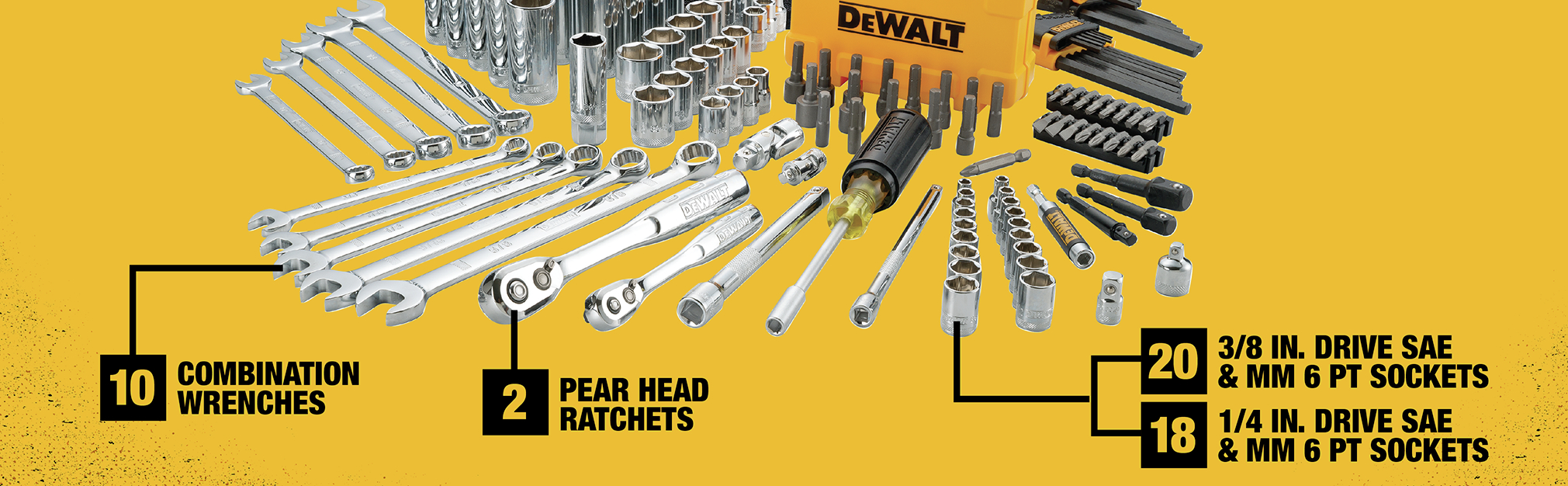10 combination wrenches 2 pear head ratchets