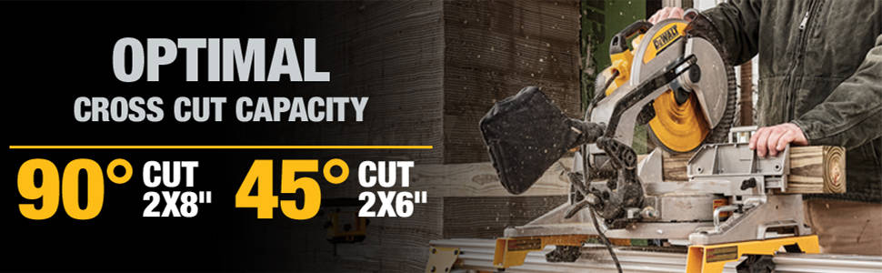 Optimal cross cut capacity 90° cut 2x8 in. 45° cut 2x6 in.
