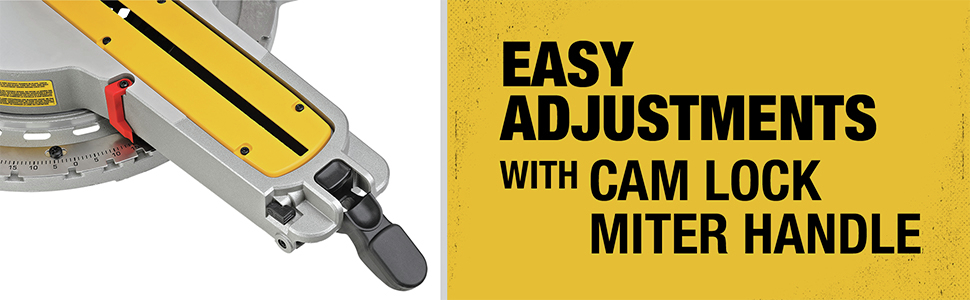 Easy adjusments with cam lock miter handle