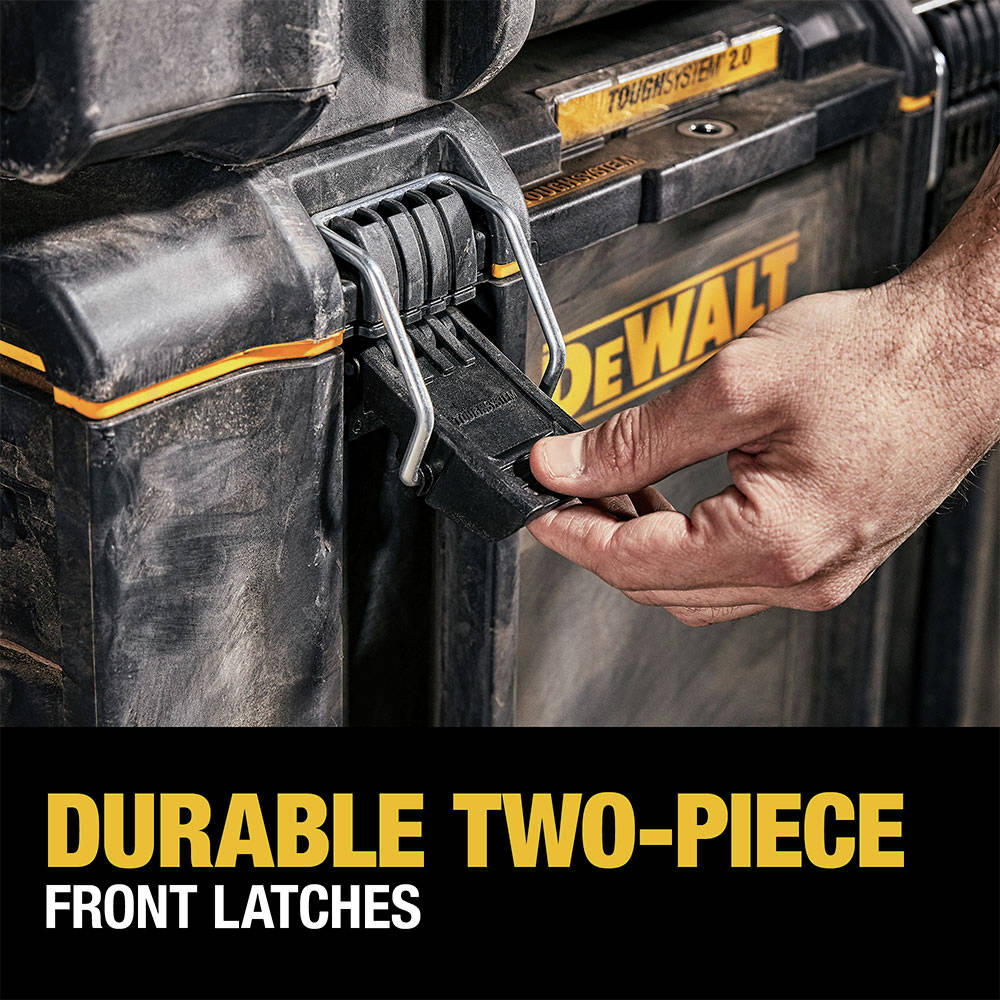 2-Piece metal front latches for added durability