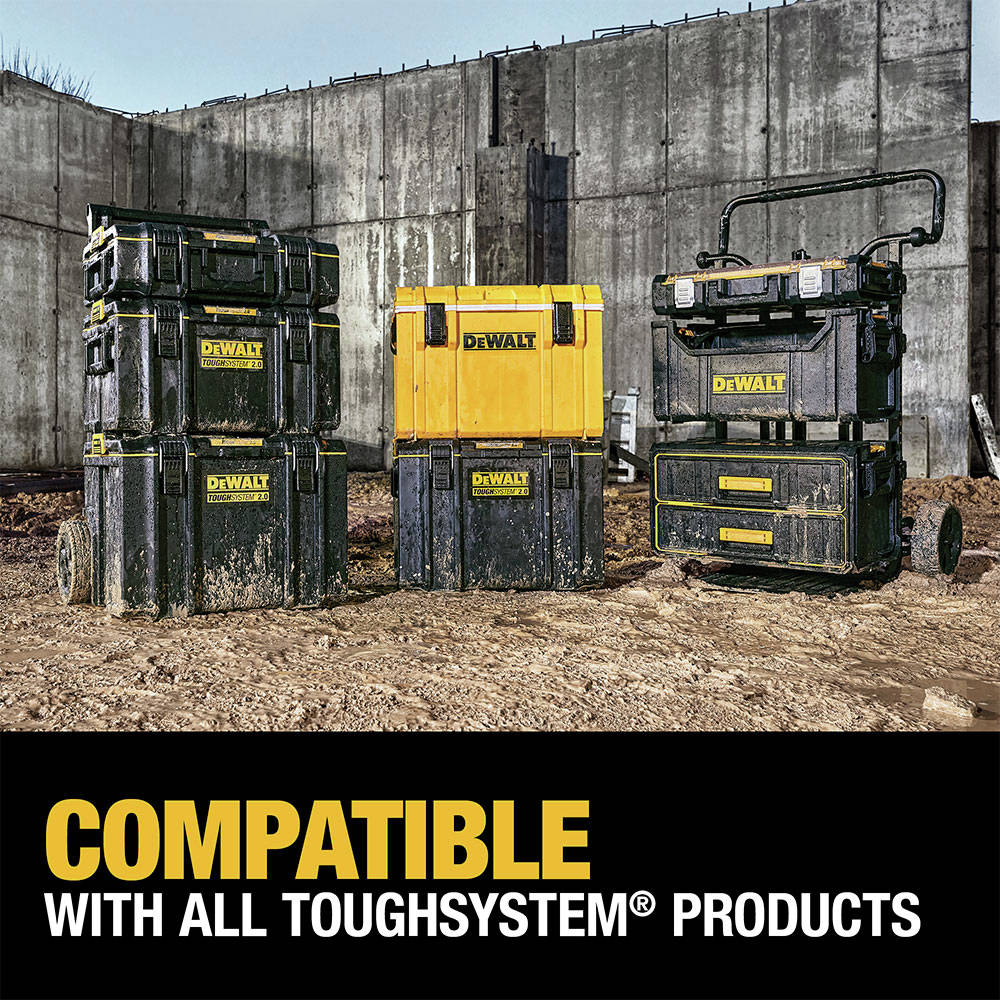 The ToughSystem 2.0 Extra Large Toolbox is backwards compatible with any ToughSystem product
