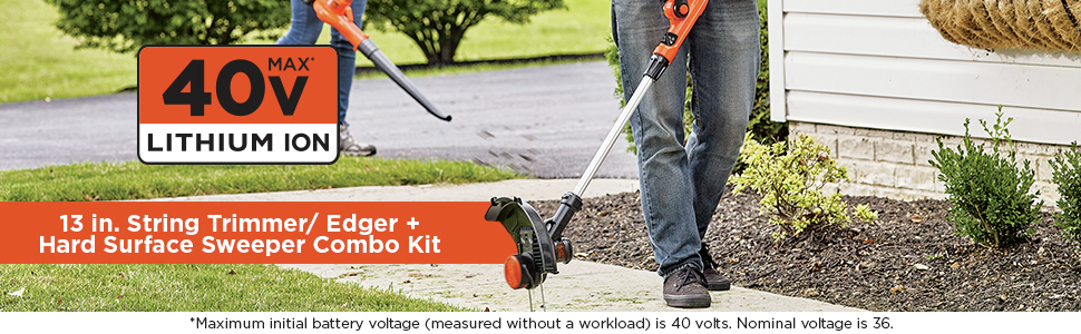 13 in string trimmer/edger, Hard surface sweeper combo kit