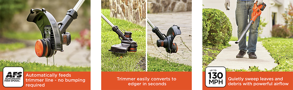 Automatically feeds trimmer line; no bumping required