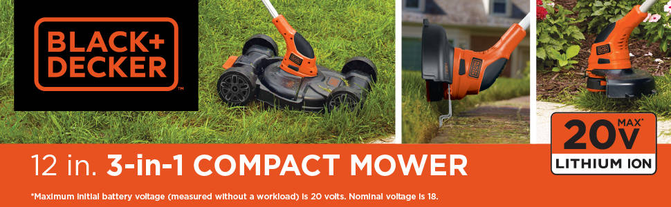12 in. 3-in-1 Compact Mower 20V MAX Lithium-Ion