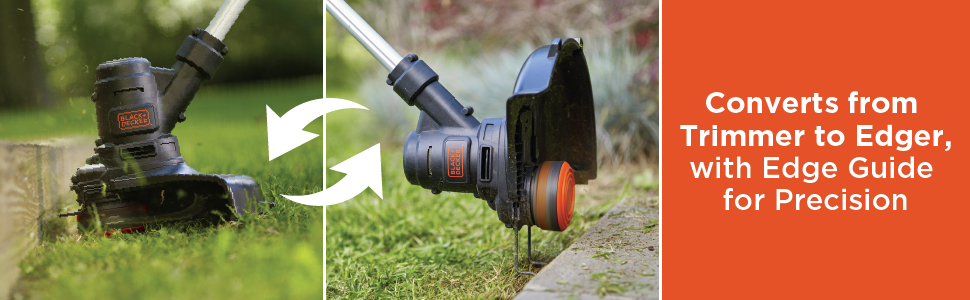 Converts from Trimmer to Edger with Edge Guide