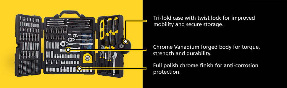 Tri-fold case with twist lock for improves mobility and secure storage