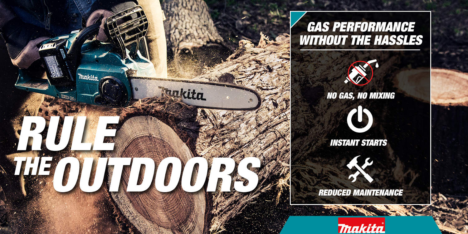 Rule the outdoors with cordless chainsaws with no need for gas and have reduced maintenance with instant start