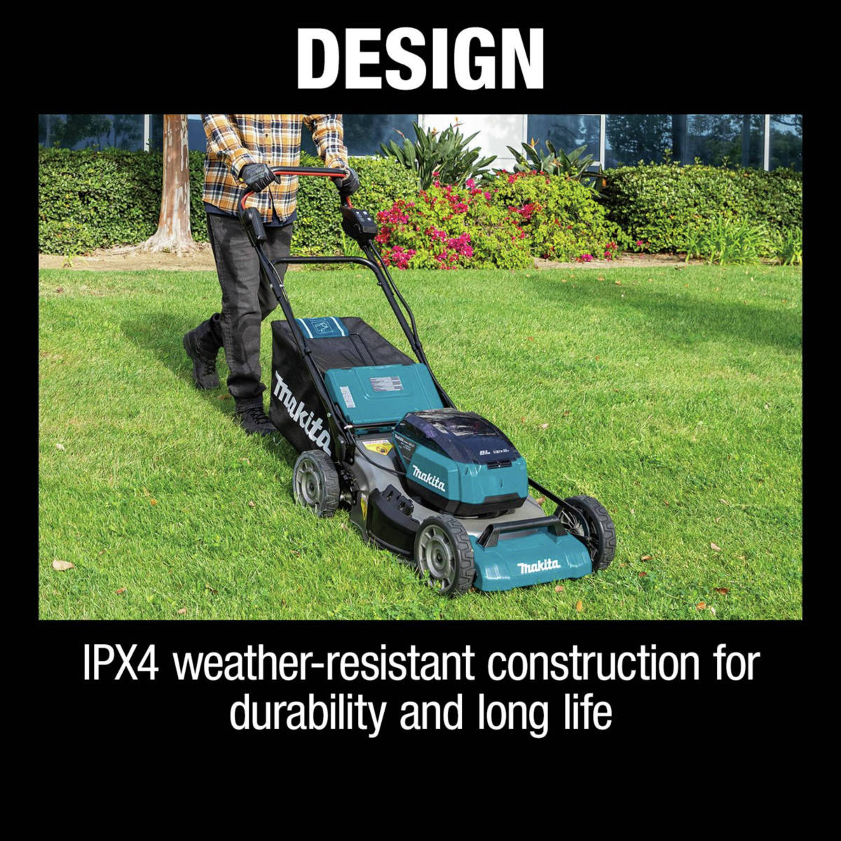 18V X2 (36V) LXT Lawn Mower is IPX4 weather-resistant