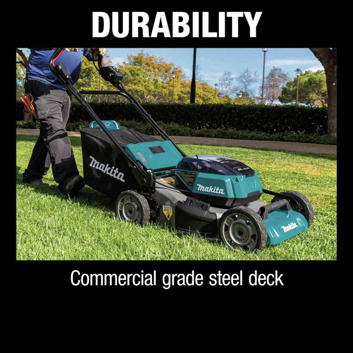 18V X2 (36V) LXT Lawn Mower has 4 bay battery system for 2x run time