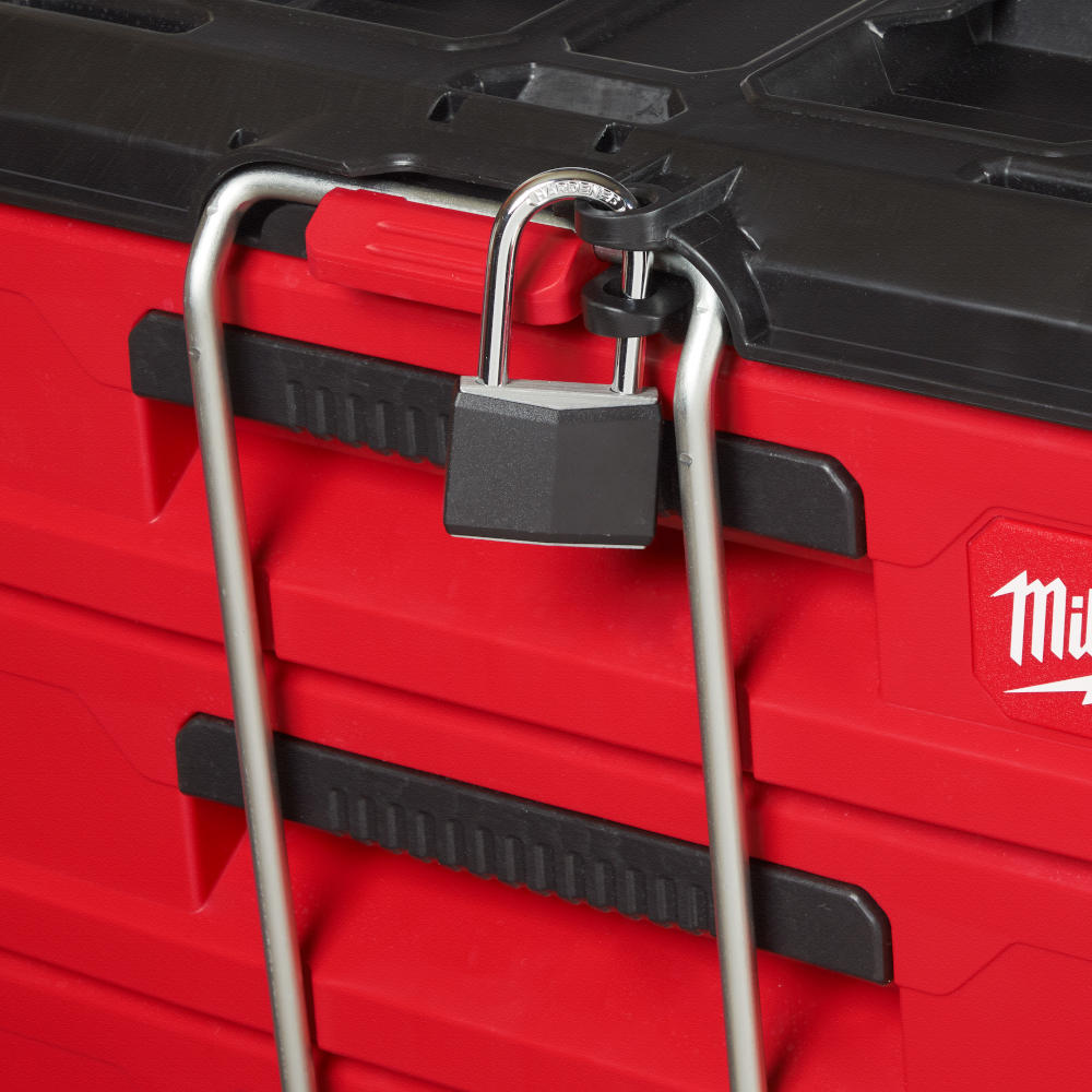 Locking Security Bar prevents drawers from opening during transport