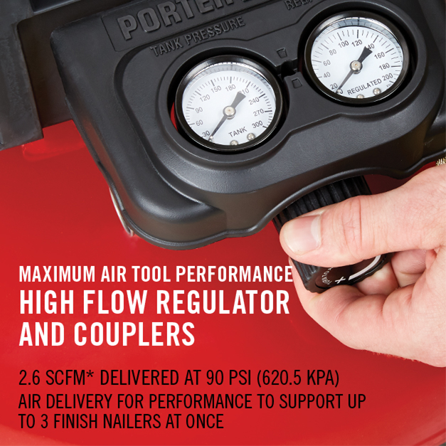Maximum air tool performance with high flow regulator and couplers to support up to 3 finish nailers at once