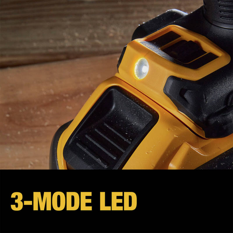 3-mode LED provides lighting in dark or confined spaces up to 20x brighter than the DEWALT DCD985