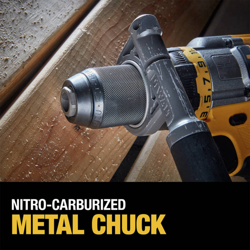 Heavy-duty 1/2 in. ratcheting nitro-carburized metal chuck with carbide inserts for superior bit gripping strength