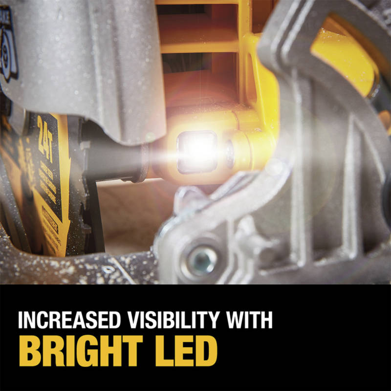 Bright LED increases visibility and cut accuracy