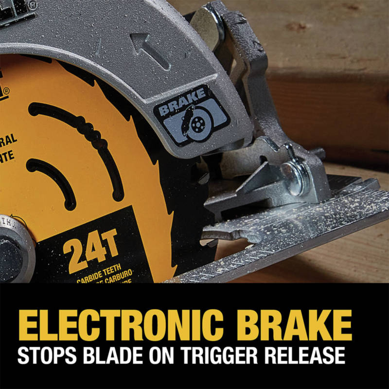 Electronic Brake stops blade on trigger release