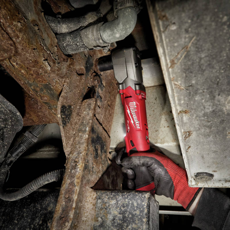 M12 FUEL Lithium-Ion 1/2 in. Cordless Right Angle Impact Wrench with Friction Ring features 4-Mode Drive Control provides up to 220 ft-lbs nut-busting torque