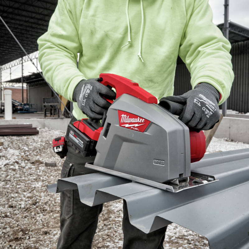 M18 FUEL Metal Cutting Circular Saw cuts 120 feet of decking per charge